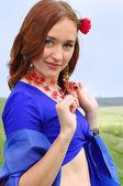 Gipsy girl in blue — Stock Photo