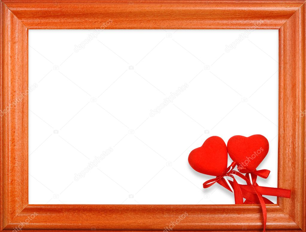 Valentine's Day two hearts in a frame on a white background  Stock Photo #3668870