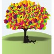 Royalty-Free Stock Vector Image: The boy under a wonderful colour tree