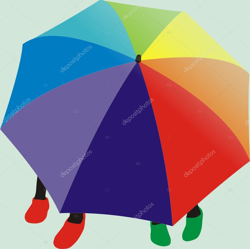 Two girls under color umbrella — Stock Vector #3636595