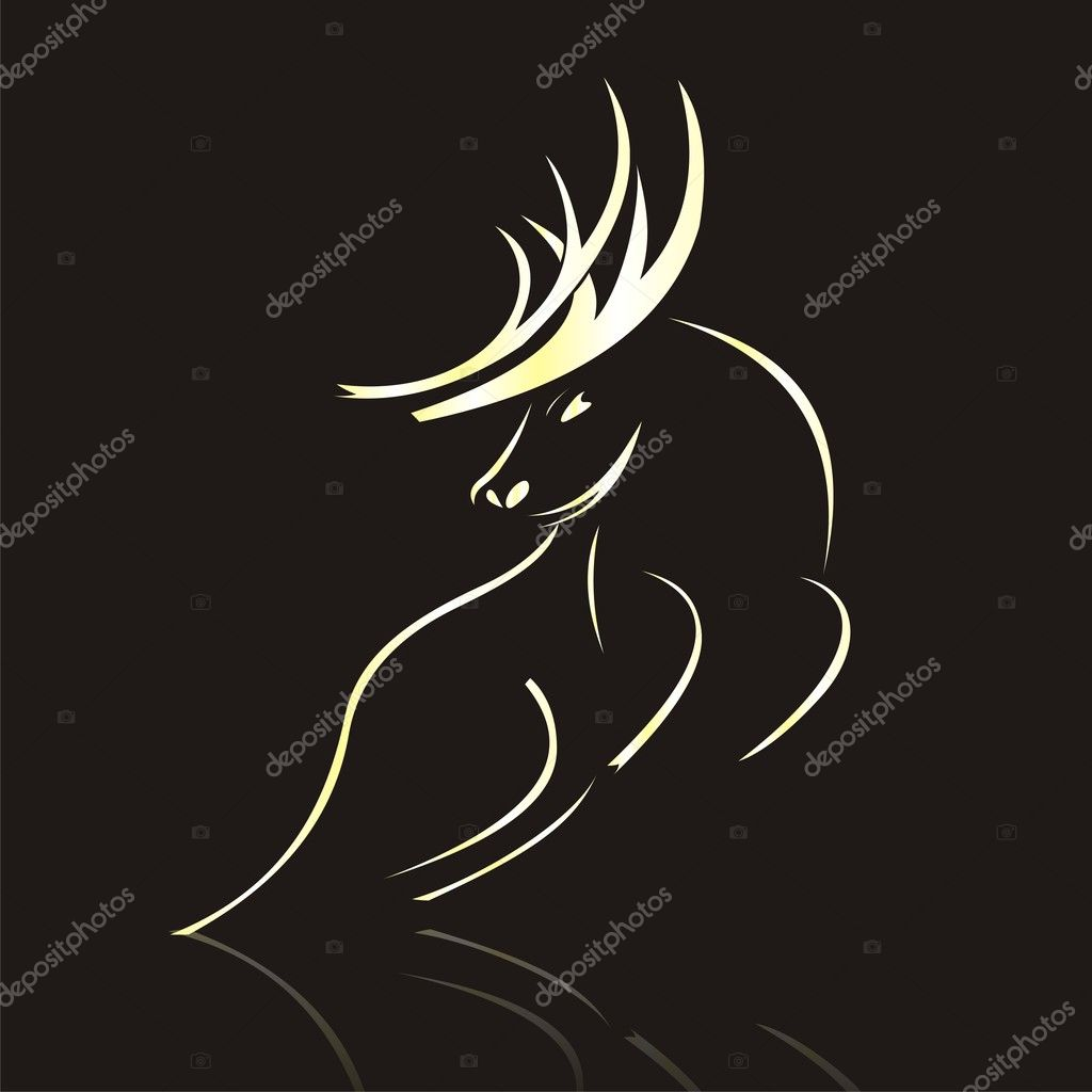 Silhouette of Deer  Stock Vector #3813526