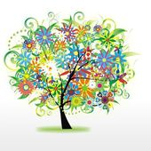 Vector abstract colorful tree — Stock Vector