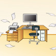 Stock Vector: Workstation in office