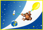 Monkey in space — Stock Vector