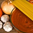 Spaghetti Sauce & Ingredients — Stock Photo