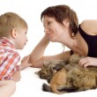 Mother and son with cat and kitten — Stock Photo