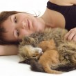 Woman with cat and kitten — Stock Photo