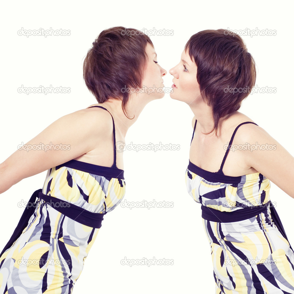 Girls kiss isolated on white background  Stock Photo #3637373