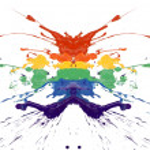 Symmetry rainbow paint — Stock Photo