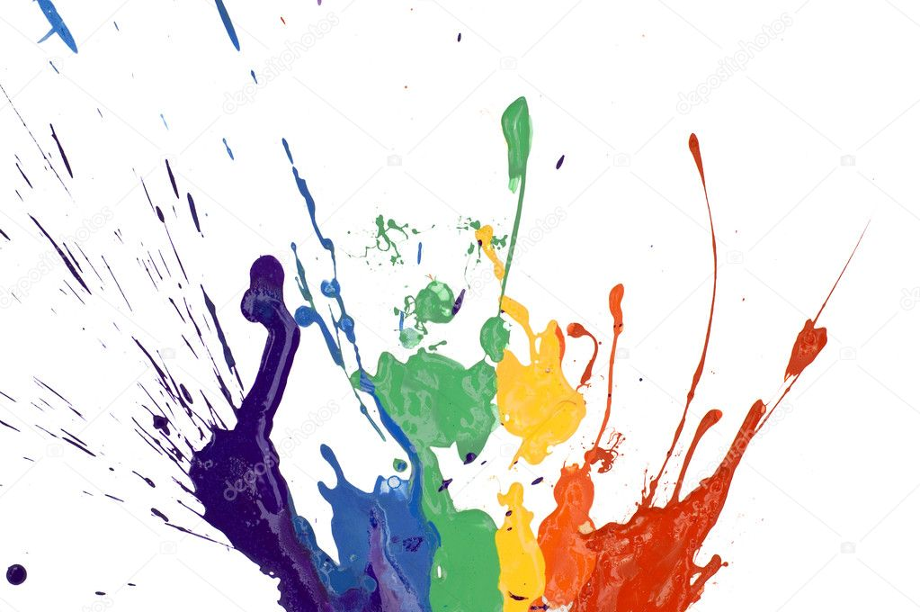 Rainbow paint isolated on white background  Stock Photo #3642052