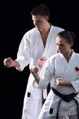 Karateka couple — Stock Photo