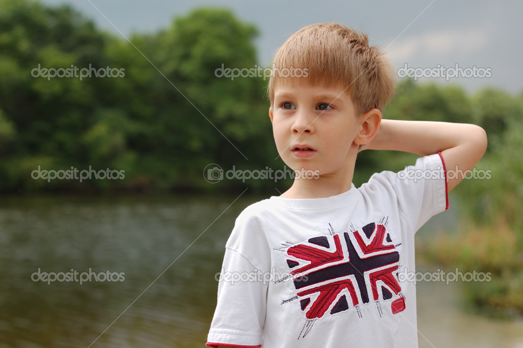 Little boy outdoor summer vacation  Stock Photo #3696411