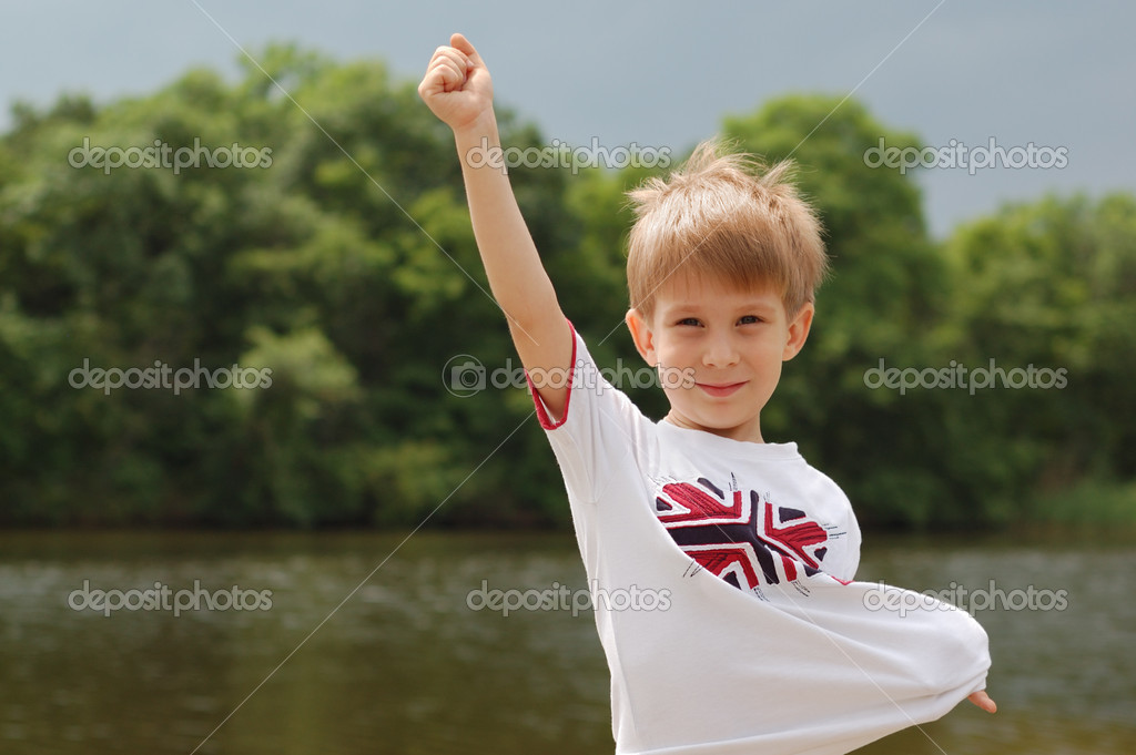 Happy little boy outdoor summer vacation — Stock Photo #3696422