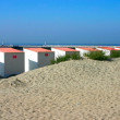 Beach Cabins with pier — Stock Photo