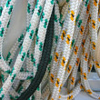 Colored ropes on sailing boat — Stock Photo #3890157
