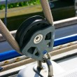 Pulley on sailing boat — Stok fotoğraf