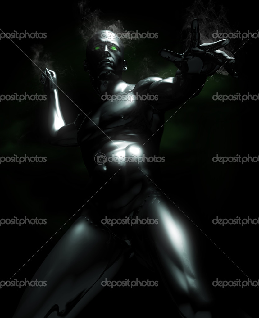 A A super hero made of metal posing in an action mood with glowing eyes. — Stock Photo #3635154
