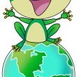 Green frog on earth — Stock Photo