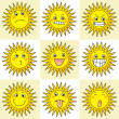 Stock Photo: 9 cartoon action icon of sun