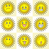 9 cartoon action icon of sun — Stock Photo