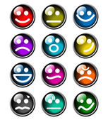 12 glossy smile icons — Stock Vector
