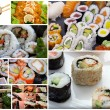 Japanese sushi collage — Stock Photo