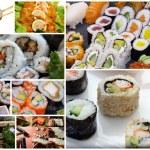 Japanese sushi collage — Stock Photo