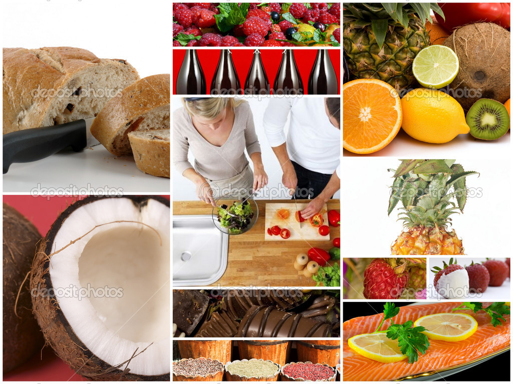 Gourmet food collage from a restaurant — Stock Photo #3843422