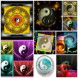 Ying Yang Glossy Colorful Style Collage - Stock Photo