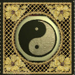 gold ying yang symbol on background — Stock Photo