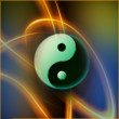 Yin Yang Engraved on Abstrakt Background — Stock Photo