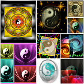 Ying Yang Glossy Colorful Style Collage — Stock Photo