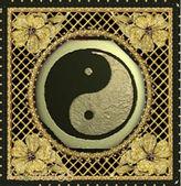 Gold Ying Yang Symbol on background — Stock Photo