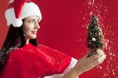 Belle fille de santa tenant un petit arbre de Noël — Photo