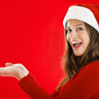 Excited Santa Girl showing — Stock Photo