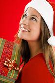 Santa Girl with present — Stock Photo