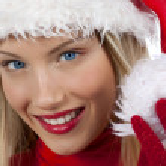 Beautiful Santa Claus girl — Stock Photo