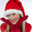 Beautiful Santa Claus girl - Stock Photo