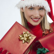 Attractive Santa girl with presents - Stock Photo