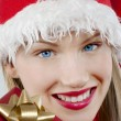 Attractive Santa girl with present - Stock Photo