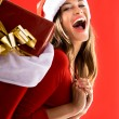 Excited Santa Girl - Stock Photo