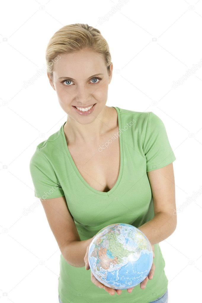 Young woman holding the globe in both hands  Stock Photo #4012673
