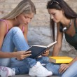Happy female student students outdoors — Stock Photo #4049806