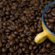 Cup filled with coffee beans — Stockfoto