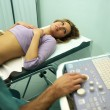 Stock Photo: Doctor using ultrasound machine