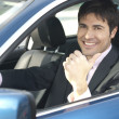 Smiling driver with thumb up — Stock Photo