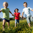 Stock Photo: Three children running holding hands