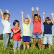 Multi-Ethnic group of children outdoors - Foto de Stock