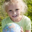 Little girl holding globe — Stock Photo