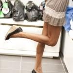 Shopping girls on tiptoe — Stock Photo #4167732